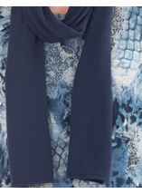 Anna Rose Printed Brushed Knit Top With Scarf Blue/Grey - Gallery Image 3