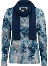 Anna Rose Printed Brushed Knit Top With Scarf Blue/Grey - Gallery Image 4