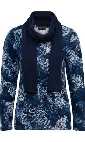 Anna Rose Printed Brushed Knit Top With Scarf Navy