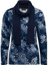 Anna Rose Printed Brushed Knit Top With Scarf Navy - Gallery Image 1