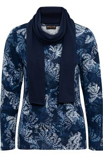 Anna Rose Printed Brushed Knit Top With Scarf - Navy