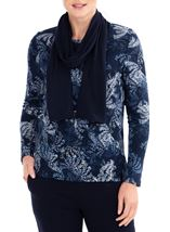 Anna Rose Printed Brushed Knit Top With Scarf Navy - Gallery Image 2
