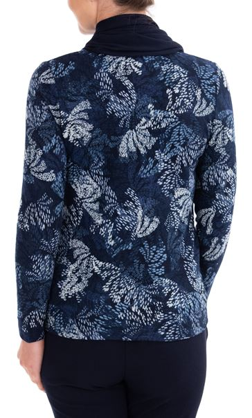 Anna Rose Printed Brushed Knit Top With Scarf Navy - Gallery Image 3