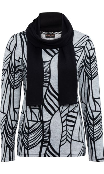 Anna Rose Printed Brushed Knit Top With Scarf Grey/Black