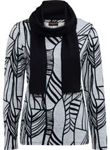 Anna Rose Printed Brushed Knit Top With Scarf Grey/Black - Gallery Image 1
