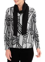 Anna Rose Printed Brushed Knit Top With Scarf Grey/Black - Gallery Image 2
