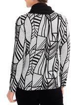 Anna Rose Printed Brushed Knit Top With Scarf Grey/Black - Gallery Image 3