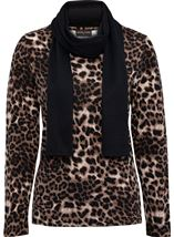 Anna Rose Animal Print Knit Top With Scarf Brown/Black - Gallery Image 1