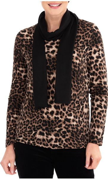 Anna Rose Animal Print Knit Top With Scarf