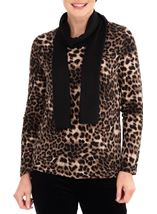 Anna Rose Animal Print Knit Top With Scarf Brown/Black - Gallery Image 2