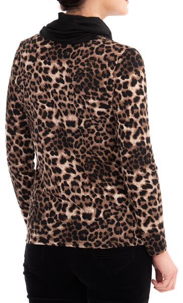 Anna Rose Animal Print Knit Top With Scarf Brown/Black - Gallery Image 3