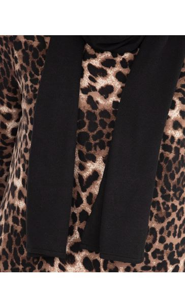 Anna Rose Animal Print Knit Top With Scarf Brown/Black - Gallery Image 4
