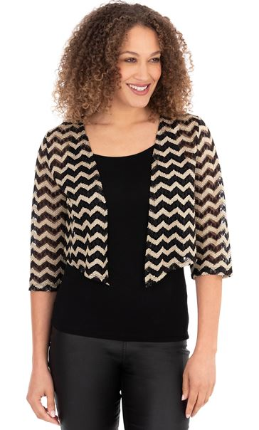 Zig Zag Lace Open Cover Up Black/Gold