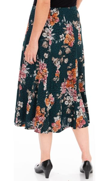 Anna Rose Floral Print Panelled Midi Skirt Pine Green/Pink - Gallery Image 2