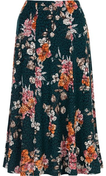 Anna Rose Floral Print Panelled Midi Skirt Pine Green/Pink - Gallery Image 3