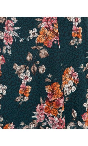 Anna Rose Floral Print Panelled Midi Skirt Pine Green/Pink - Gallery Image 4