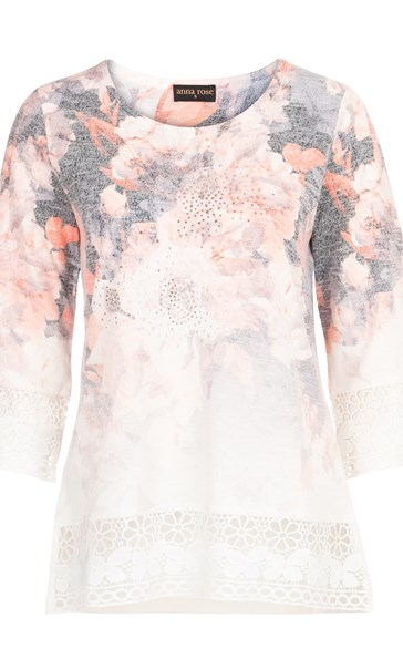 Anna Rose Embellished Floral Knit Top Orange