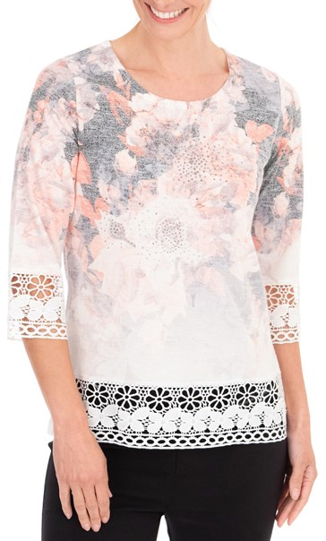 Anna Rose Embellished Floral Knit Top Orange - Gallery Image 2