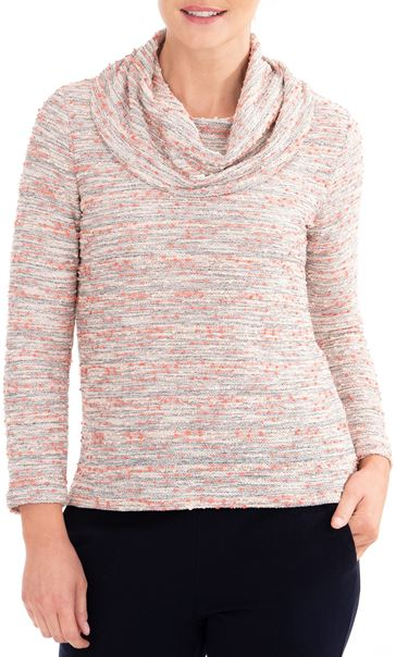 Anna Rose Textured Cowl Neck Knit Top Orange/Pink - Gallery Image 1