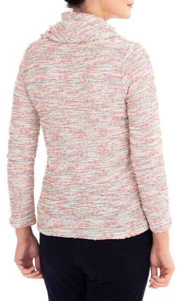 Anna Rose Textured Cowl Neck Knit Top Orange/Pink - Gallery Image 2