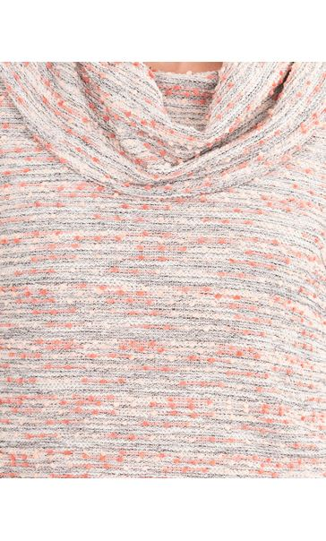 Anna Rose Textured Cowl Neck Knit Top Orange/Pink - Gallery Image 3