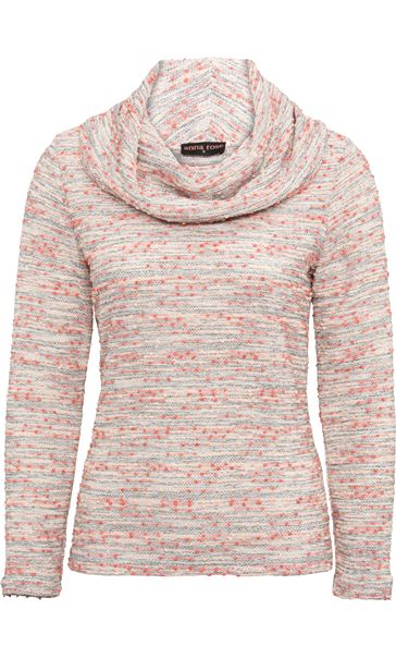 Anna Rose Textured Cowl Neck Knit Top Orange/Pink - Gallery Image 4
