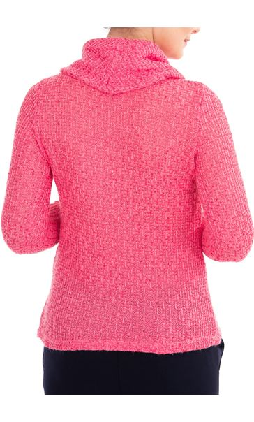 Anna Rose Shimmer Textured Cowl Neck Knit Top - Pink