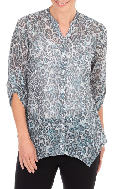 Anna Rose Animal Printed Georgette Blouse Grey/Blue