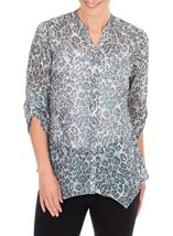Anna Rose Animal Printed Georgette Blouse Grey/Blue - Gallery Image 1
