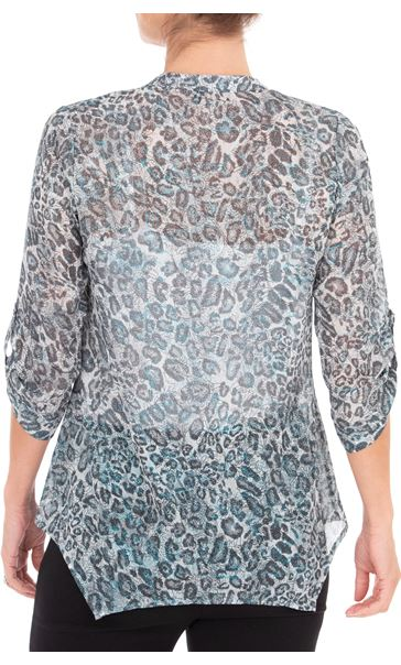 Anna Rose Animal Printed Georgette Blouse Grey/Blue - Gallery Image 2