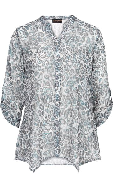 Anna Rose Animal Printed Georgette Blouse Grey/Blue - Gallery Image 4