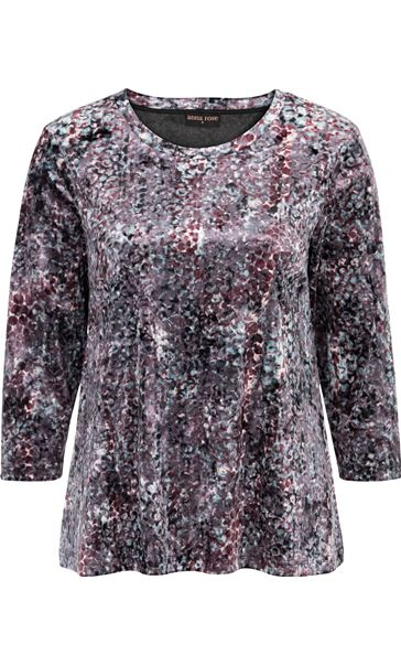 Anna Rose Relaxed Fit Printed Velour Top Pink/Green Multi