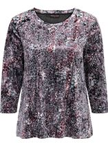 Anna Rose Relaxed Fit Printed Velour Top Pink/Green Multi - Gallery Image 1