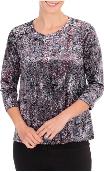 Anna Rose Relaxed Fit Printed Velour Top Pink/Green Multi - Gallery Image 2