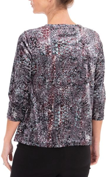 Anna Rose Relaxed Fit Printed Velour Top Pink/Green Multi - Gallery Image 3