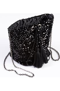 Sequinned Velour Clutch Bag