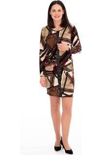 Knitted Print Long Sleeve Dress