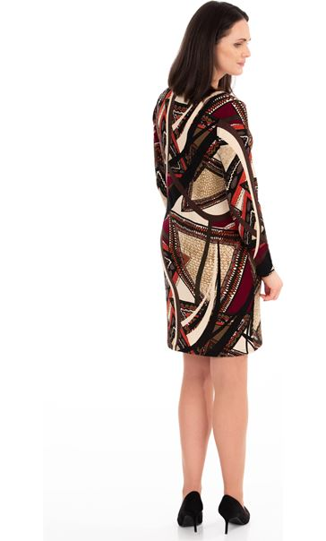 Knitted Print Long Sleeve Dress Oranges - Gallery Image 2