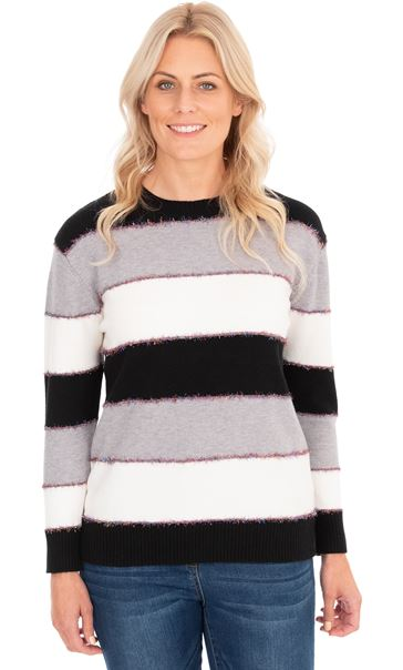 Long Sleeve Stripe Lurex Knit Top Black/Grey/Ivory