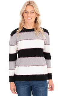 Long Sleeve Stripe Lurex Knit Top