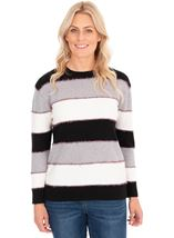Long Sleeve Stripe Lurex Knit Top Black/Grey/Ivory - Gallery Image 1