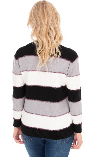 Long Sleeve Stripe Lurex Knit Top - Multi