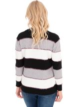 Long Sleeve Stripe Lurex Knit Top Black/Grey/Ivory - Gallery Image 2