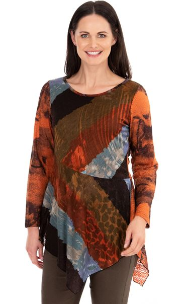Printed Long Sleeve Knitted Tunic Orange/Khaki - Gallery Image 1