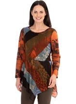 Printed Long Sleeve Knitted Tunic
