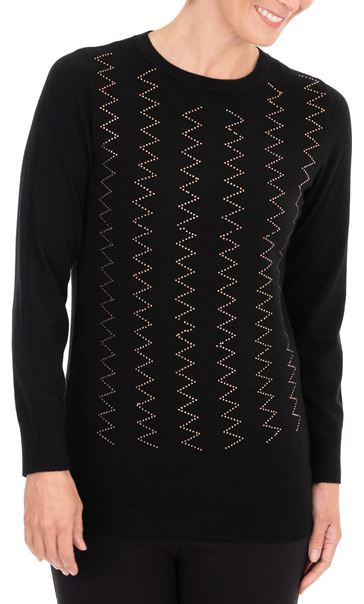 Anna Rose Embellished Long Sleeve Knit Top Black