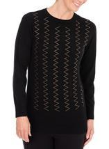 Anna Rose Embellished Long Sleeve Knit Top Black - Gallery Image 1