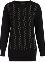 Anna Rose Embellished Long Sleeve Knit Top Black - Gallery Image 2