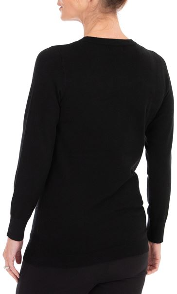 Anna Rose Embellished Long Sleeve Knit Top Black - Gallery Image 3