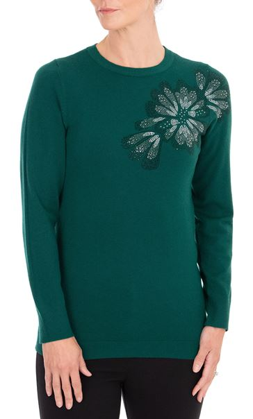 Anna Rose Embellished Long Sleeve Knit Top Emerald